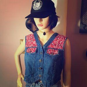 VTG 70s/80s Bandana Denim Jeans Vest